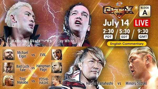 Watch NJPW G1 Climax 28 – Day 1 7/14/2018 Full Show Online Free 14th July 2018